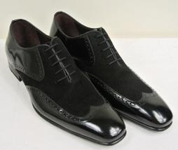 Handmade Men's Black Leather and Suede Wing Tip Oxford Shoes image 1