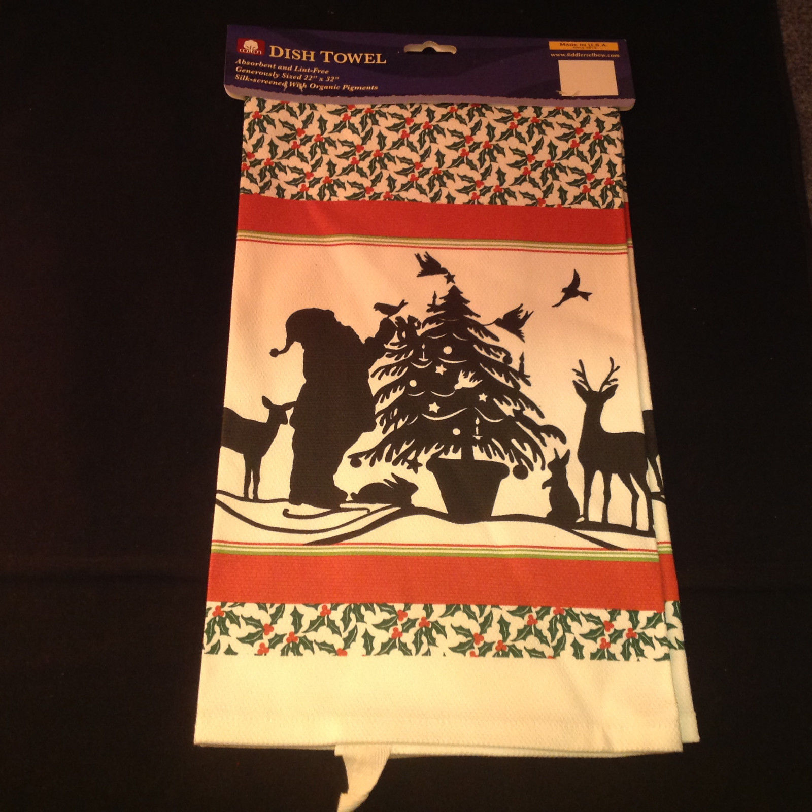 Kitchen Cotton Towel Silhouette Santa Claus Reindeer Christmas Tree Absorbent