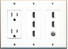 RiteAV  3 Gang 15A Power Outlet 5 HDMI Coax Cable TV Wall Plate White - $44.41