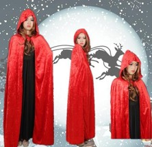 Halloween Christmas Velvet Cloak Wicca Robe Princess Long Hooded Cape Co... - $6.69+