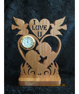 """Mini Clock """"I Love You"""" Kissing Couple Solid Wood Hand Made - $30.00"""