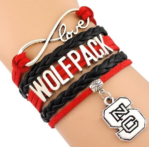 North Carolina State University Wolfpack Fan Shop Infinity Bracelet Jewelry