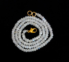 """Natural Rainbow Moonstone 3-4mm rondelle faceted beads 20"""" beaded Long necklace - $17.32"""