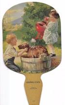 1940 DIE CUT LITHO GROCERY STORE ADVERTISING KEEPING COOL FAN  - $3.95