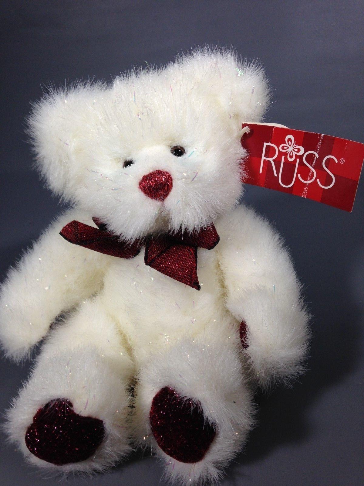 "Russ Berrie 10/"" Dressed Snowman Bears Plush Christmas Bear"