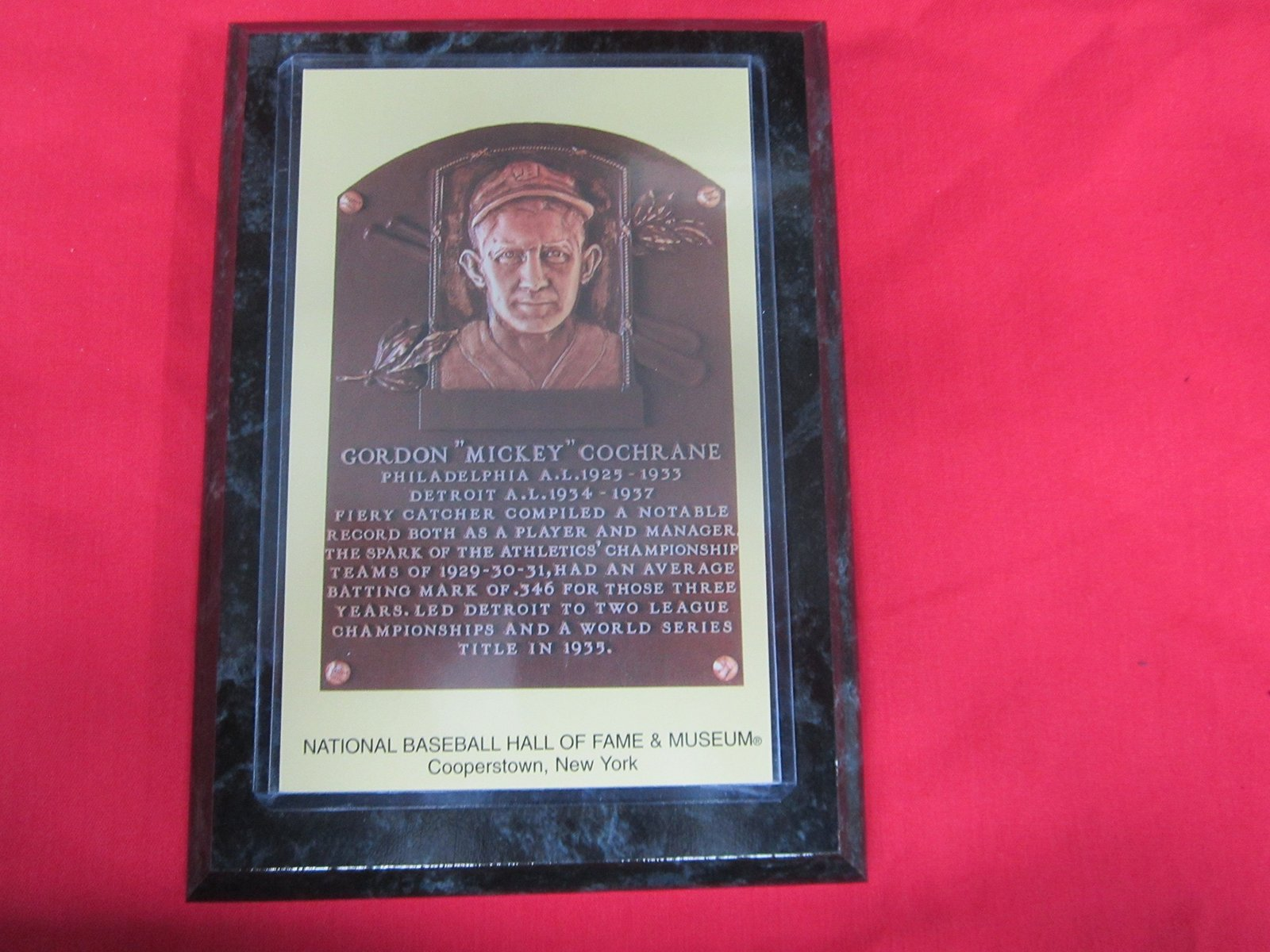 mickey cochrane 1947 hall of fame induction postcard. Black Bedroom Furniture Sets. Home Design Ideas