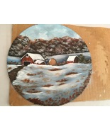 Order 4 Old Homestead, WIP Sawblade, Winter Landscape, Hand Painted, Oils - $35.00