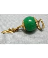 Vintage 18K Yellow Gold Jade Necklace Pendant Bracelet Charm Tassels Green - $488.59
