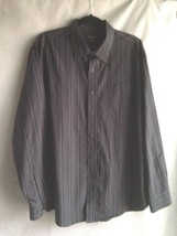 MEN'S GEORGE GRAY PIN STRIPED LONG SLEEVE BUTTON FRONT SHIRT  XL (46-48) - $14.45