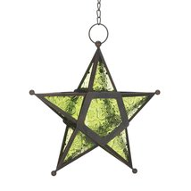Glass Star Hanging Candle Lantern - Green - $12.69