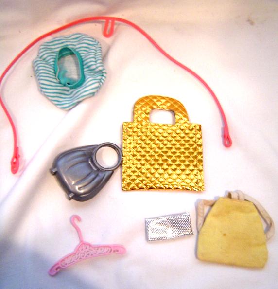 Vintage Barbie Doll Accessories Set of 7 Bags Hanger Harness Hat Backpack