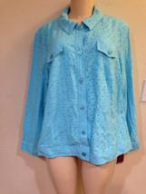 Women's Cotton Eyelet Jacket Church Spring fall summer dress plus 18W 1X $69  - $39.59