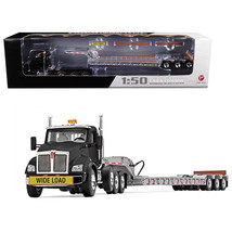 Kenworth T880 Tri Axle Lowboy Trailer Black/Silver 1/50 Diecast Model by... - $115.51