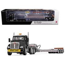 Kenworth T880 Tri Axle Lowboy Trailer Black/Silver 1/50 Diecast Model by... - $115.51