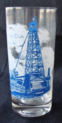 Vintage Oil City Club PA Pennsylvania Advertising Drinking Glass Oil Rig 12oz
