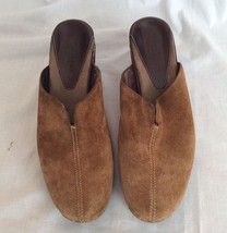 COLE HAAN Womens Country Suede Brown Leather Heel Clogs Mules Slip On Si... - $46.74