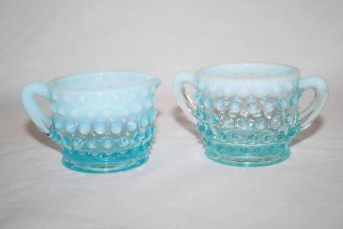 "Vintage Fenton Blue Opalescent Hobnail Small 2"" Creamer & Sugar #1712"