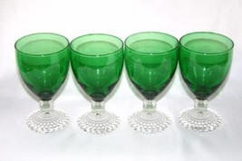 Set of 4 ANCHOR HOCKING Emerald Green BUBBLE FO... - $68.00