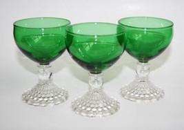 "-Set of 3- Anchor Hocking Green Bubble 4"" Liquo... - $30.00"