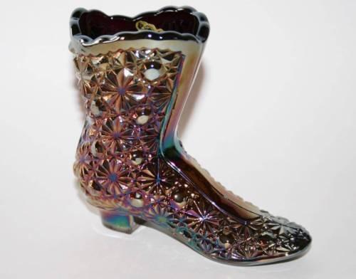 Fenton Glass Amethyst Carnival Daisy & Button Shoe Boot  #1609