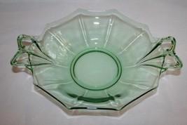 "Vintage FOSTORIA FAIRFAX Green Bow Handle 10"" Bowl  #M23 - $58.00"