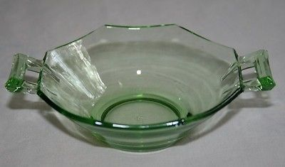 Primary image for HEISEY Octagon Green Moongleam Nut Dishes -Set of 9- #M20