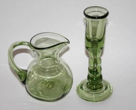 Vintage Blown Green Art Glass Square Pitcher an... - $38.00