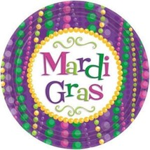 "Mardi Gras Celebration Beads 12 7""  Dessert Plates Party Tableware - $3.60"