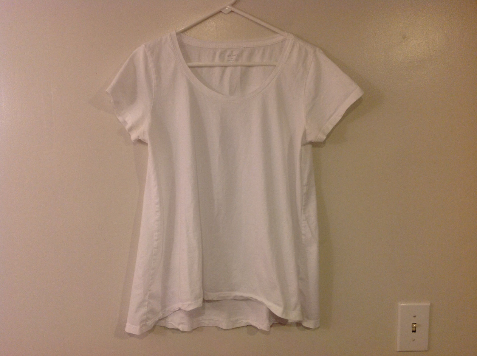 "Grace Women's Size L ""T-shirt"" Pima Cotton Basic White Scoop Tee Short Sleeves"