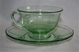 Vintage FOSTORIA FAIRFAX Green Footed 8 Cup & Saucer Sets  #M29 - $80.00