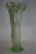 "FENTON Lime Green Ribbed Fluted 10"" Vase  #M16 image 1"