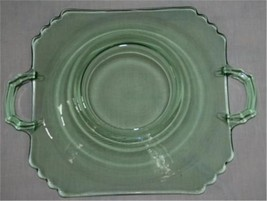 Vintage Fostoria Mayfair Green 2-Handle Lemon Jelly Plate #M22 - $60.00