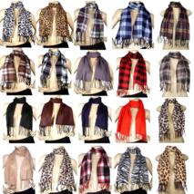 Men Women Solid Color Plaid Animal Print Leopard Wrap Winter Warm Fleece... - $4.94+
