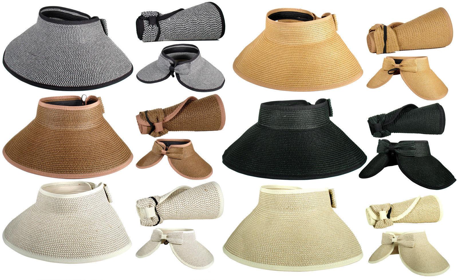 facd5126b40cd Fashion Foldable Adjustable Roll Up Wide Brim Straw Bow Sun Visor Floppy  Cap Hat -  8.49