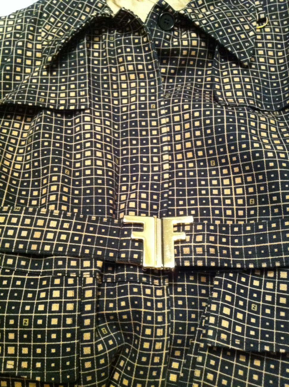 FENDI Vasarely print trench coat double F gold NEW trenchcoat Made in Italy RARE