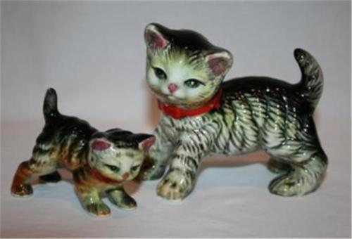 JAPAN Vintage *Set of 2* Cat & Kitten Figurines    #654 - $50.00