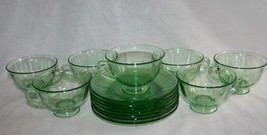 Fostoria Fairfax 16 Pcs Green Footed Cups & Saucers #M29 - $80.00