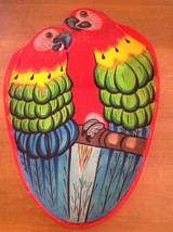 Huge  Laquer Tray Parrot Parrots Tropical Tiki Parrothead Jimmy Buffett Red - $29.02