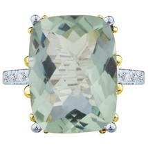 8.66 tcw Cushion Cut Green Amethyst & Round Diamond Ring 14k White Gold - £213.08 GBP
