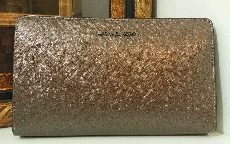 NWT MICHAEL KORS JetSet Travel Large Convertible Leather Crossbody/Clutch Cinder