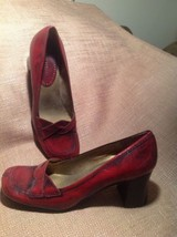 NINE WEST HARLIN WOMEN'S RED LEATHER CAREER PUMPS SIZE 6.5M CHUNKY HEELS... - $29.69
