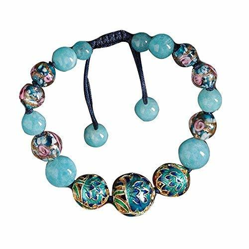 Charm Bracelets Light Blue Cloisonné Pattern Glass Colored Glaze Bracelets
