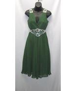 Designer Green Rayon Sleeveless Pleated Surplic... - $50.99