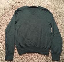 Men's Express Green Italian Merino Wool V-Neck Light Sweater, Size M - $29.99
