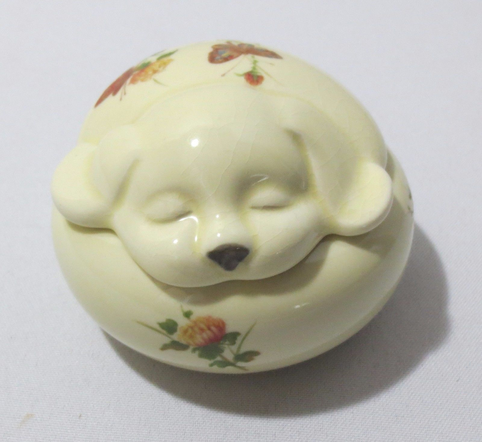 Vtg Dog puppy w/ Flowers & Butterfly Trinket Box Jewelry Holder Takahashi Japan