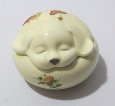 Vtg Dog puppy w/ Flowers & Butterfly Trinket Box Jewelry Holder Takahash... - $20.00