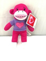 "pink heart plush sock monkey 9.5"" - $19.80"