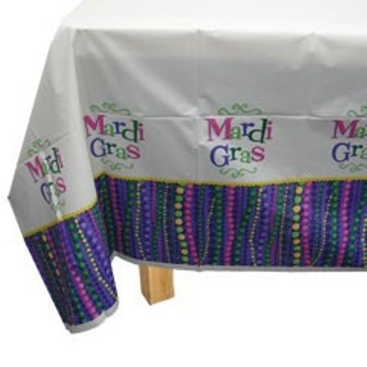Mardi Gras Beads Party Tablecover Plastic 54 x 96 Celebration Decor