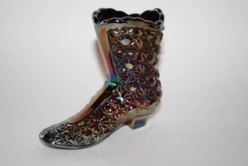 Fenton Glass Amethyst Carnival Daisy & Button Shoe Boot  #1609 image 3