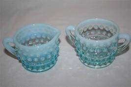 "Vintage Fenton Blue Opalescent Hobnail Small 2"" Creamer & Sugar #1712 image 2"